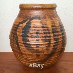 Impressive Large Modernist Studio Pottery Vase Pot, Vintage 1960s Signed 13.5