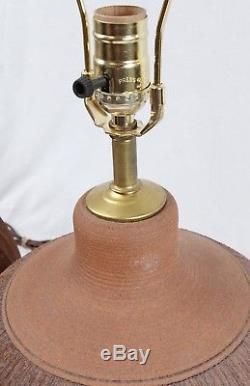 Incised Studio Pottery Table Lamp Pair Brown Vintage Mid Century Danish Modern