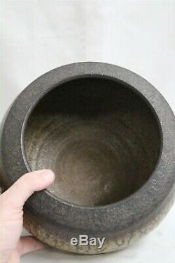 JP Vintage Studio Pottery Frasca Aerni Hand Thrown Green Drip Raised Rim Bowl