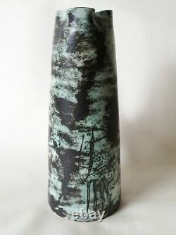 Jacques blin french studio pottery tall jug green VTG retro