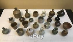 Japanese Studio Pottery Vintage Lot of 24 Small Ceramic Pieces Bowls Vases EUC
