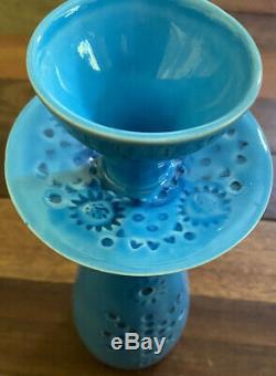 John Ffrench Arklow Studio Pottery Ireland Vtg Aqua Candlestick 10 inches Tall
