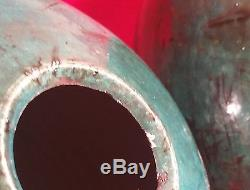 LARGE RAKU PAIR vtg drip blue celadon glaze vase pot vessel studio art pottery