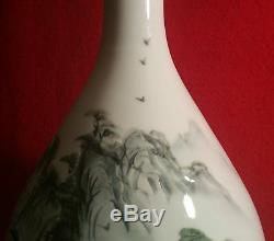 LARGE signed japanese celadon studio art pottery vase incised modern vtg bulbous