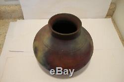 Large Marty Marcus Signed RAKU Vase 8 x 9 Studio Art Pottery Vintage Rare