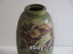 Large Miller Signed Pot Vessel Pottery Ceramic Studio Abstract Birds 1970's Mod