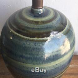Large Pair Vintage Drip Glaze Ceramic Lamps Mid Century Studio Pottery Modern