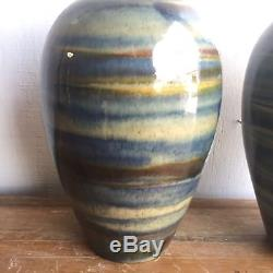 Large Pair Vintage Drip Glaze Ceramic Lamps Mid Century Studio Pottery Modern