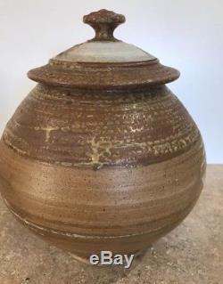 Large VINTAGE URN VESSEL Studio Art Pottery CERAMICS Signed BROWN MCM Midcentury