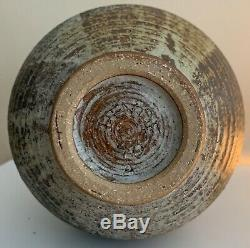 Large Vintage 40s Studio Pottery Stoneware Ceramic Vase Mid Century Signed Deyoe