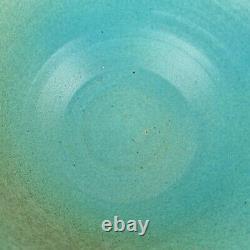 Large Vintage Blue Glazed Studio Pottery Bowl 12.5cm High x 25.5cm Diameter