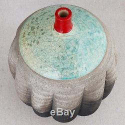Large Vintage Bulbous Michael Weinberg Signed Raku Studio Pottery Vase 13½