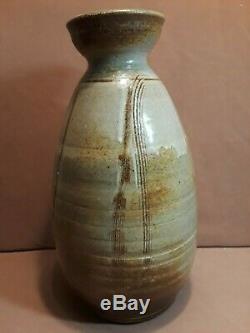 Large Vintage MID Century Modern Studio Pottery Vase Signed 14 1/2