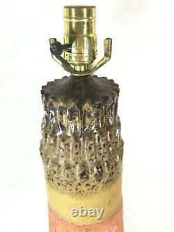 Large Vintage Mid Century Modern Brutalist Studio art Pottery Lamp