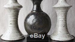Large Vintage Mid Century Modern Studio Pottery Grey Bulbous Sculpture 19½