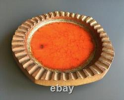 Large Vintage Mid Century Studio Pottery Ashtray by Robert Maxwell Signed