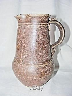 Large Vintage Studio Pottery Jug Salt Glaze Stoneware Signed To Base 9 High