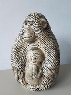 Lisa Larson Ape with Child sculpture Swedish art vintage MCM Apa Gorilla Monkey
