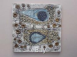 Lisa Larson birds wall plaque fagler vintage Swedish mid-century Gustavsberg