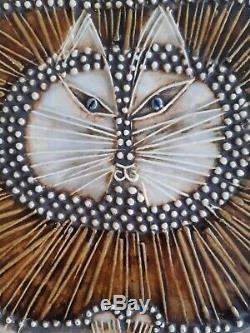 Lisa Larson cat wall plaque katt vintage Swedish mid-century art Gustavsberg