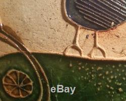 MCM Cailf vtg studio art pottery tile wall hanger hal fromhold danish modern cat