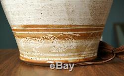 MCM Studio Pottery Table Lamp Signed Ricard Vintage Handmade Ceramic Lighting
