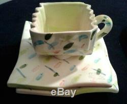 MEMPHIS Cup & Saucer & Plate Set Art Studio Pottery Circa 80s Vintage Signed