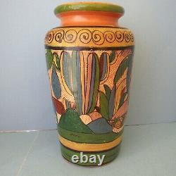 MEXICAN POTTERY Vase Tlaquepaque Vintage Folk Arts Crafts Studio Scenic 11.5