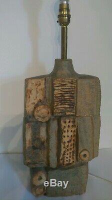 MID Century Vintage Bernard Rooke Sculptured Studio Pottery Large Table Lamp