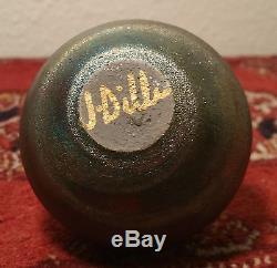 MINI j. Diller raku studio art pottery vtg vase bowl pot miniature gold signed