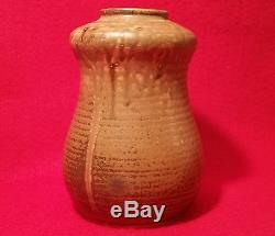 MOD JAPANESE mcm vtg signed studio art pottery cabinet gourd mod stonewware vase
