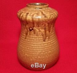 MOD JAPANESE vtg signed studio art pottery cabinet gourd vase mid century modern