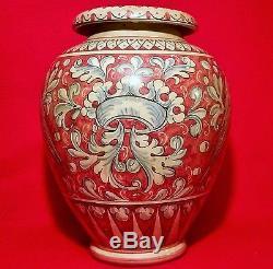 Magnanelli Gubbio vtg italian art studio pottery urn crown coat of arms vase pot