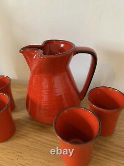 Magnificent Vintage Studio Pottery Water Jug And 3 Cup Set Burnt Orange Mint