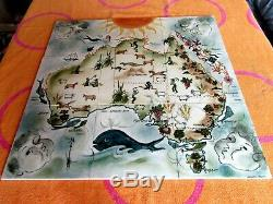 Martin Boyd, Vintage Hand Painted, 9 Tile Map Of Australia signed. 1950-60s