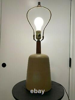 Martz Marshall Studios Pottery & Walnut Lamp Olive Pastel Green -Vintage MCM
