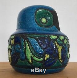 Mid Century Ceramic Owl Aldo Londi for Bitossi Studio Italy Vintage Signed #'d