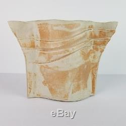 Mid Century Ikebana Vase Studio Pottery Funnel Slab Modernist Vtg