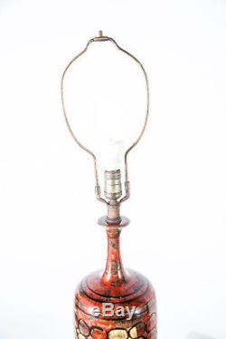 Mid Century Modern Table Lamp Sy Allen Red Studio Pottery Light Ceramic Vintage