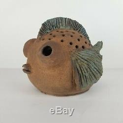 Mid Century Pottery Fish Sculpture Glaze Garden Studio Art Vintage Pond Planter