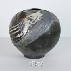 Mid Century RAKU Vase Studio Pottery Abstract Black Purple Pot 1989 Vtg