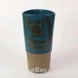 Mid Century Vase Studio Pottery Ceramic Arts Calgary Ikebana Modernist Vtg 10in