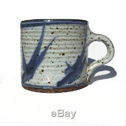 OTTO HEINO Studio Pottery CUP Mug BLUE BIRDS California Stoneware SIGNED Vintage
