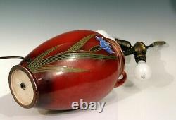 Old Antique Japanese Satsuma Studio Pottery Moriagi Irises Large Lamp