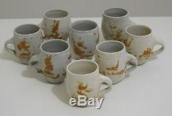 Otto and Vivika Heino Pottery Set of 8 Cups vintage artisan studio modernist