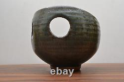 Outstanding Vintage Asymmetric Cut Out Detail Alan Ward Studio Pottery Bowl