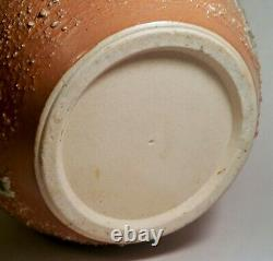 PINK JAPANESE studio art pottery vtg pinched dimple celadon drip glaze stoneware