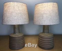 Pair Incised & Vintage Jane & Gordon Martz Marshall Studios Ceramic Table Lamps