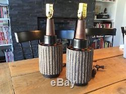 Pair Mid Century Vintage Black Brown Orange Dot Studio Pottery Lamps
