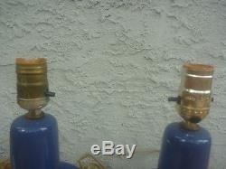 Pair Vintage Jane & Gordon Martz Marshall Studios Blue Ceramic Table Lamps